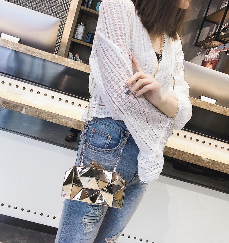 Hexagon Women Handbags Metal High Quality Clutches Fashion Geometric Mini Party Black Evening Purse Silver Bags Gold Box Clutch (10)