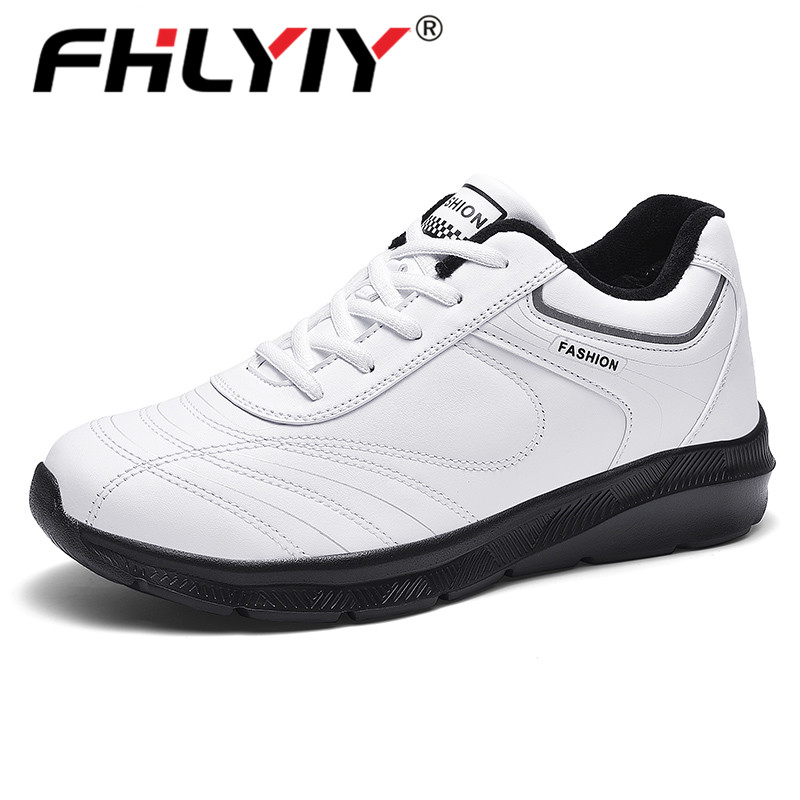 Fhlyiy Brand Men'S Casual Shoes Lace Up Fur Leather Shoes Men Soft Lightweight Flats Shoes Warm  Winter Sneakers Big Size 39-48