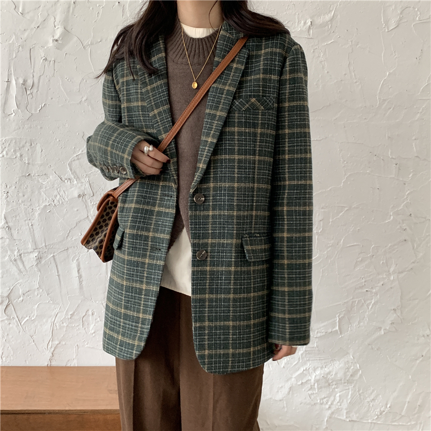 HziriP Office Ladies Notched Collar Vintage Green Plaid Women Blazer Single Breasted Winter Autumn OL  Jacket Faux Woolen Coat