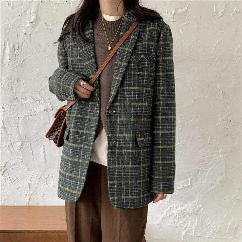 HziriP Office Ladies Notched Collar Vintage Green Plaid Women Blazer Single Breasted Winter Autumn OL  Jacket Faux Woolen Coat