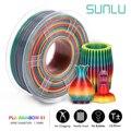 Filamento de impresora SUNLU Rainbow 3D filamento PLA Rainbow 1,75 MM 1KG precisión de dimensión +/-0,02mm Material de impresora 3D