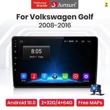 Junsun-راديو السيارة V1 Pro Android 10.0 ، 4 جيجابايت/64 جيجابايت ، نظام تحديد المواقع العالمي للملاحة ، dvd ، 4G ، مشغل الوسائط ، بدون 2din ، للسيارة VW Golf 6 (...
