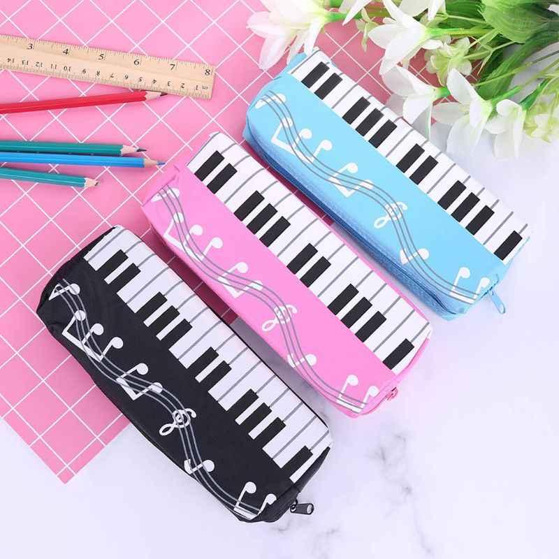 Notas musicales Piano teclado lápiz estuche bolígrafo de gran capacidad bolsas papelería oficina de estudiante de la escuela regalos