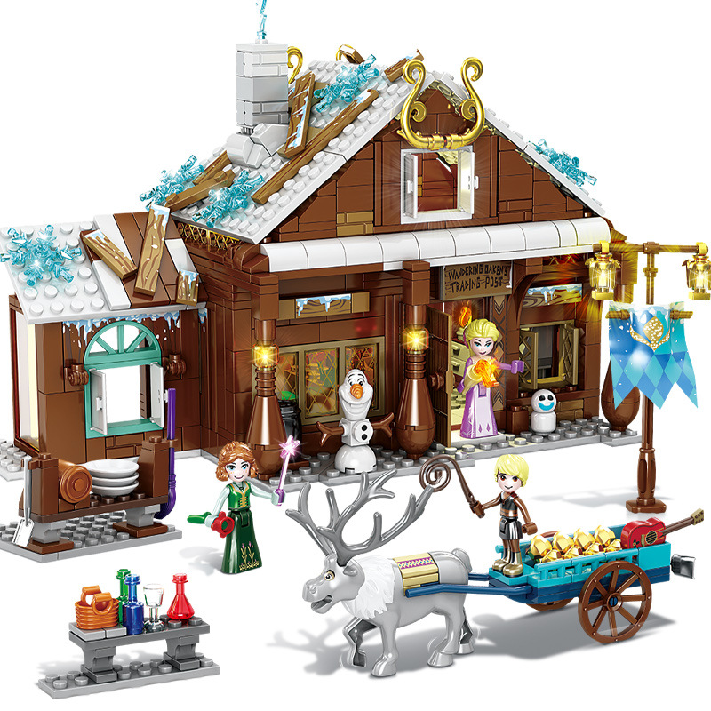 Ice Snow Princess Grocery Store Model Kit Compatible Legoing Girls Educational Assembling Building Blocks Children Toys Gift R20