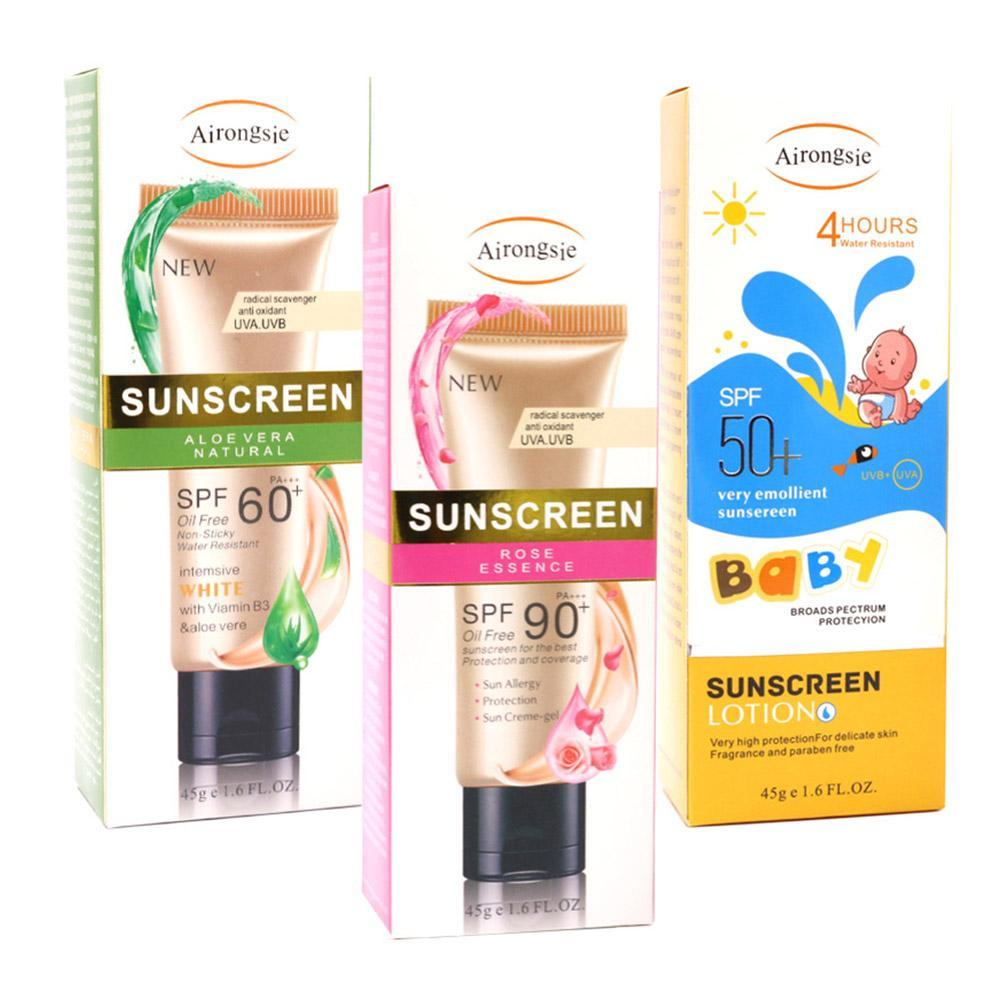1Pcs 45g SPF50/60/90+ Sunscreen Refreshing Body Sunblock Waterproof Sweatproof Anti-Aging Sun Cream Skin Protective Cream