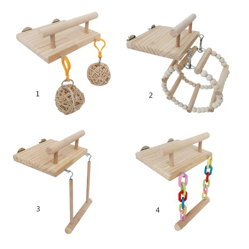Wooden Bird Perches Cage Toys Hamster Play Gym Stand With Wood Swing Rattan Ball PXPC
