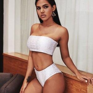 Image 5 - Maillots de bain femmes peau de serpent taille haute Bikini 2020 Push Up Bikini ensemble été Bandeau maillot de bain Sexy léopard maillot de bain femme