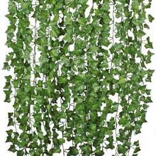 1Pcs 210Cm Green Silk Artificial Hanging Christmas Garland Plants Vine Leaves Diy Home Wedding Party Bathroom Garden Decoration