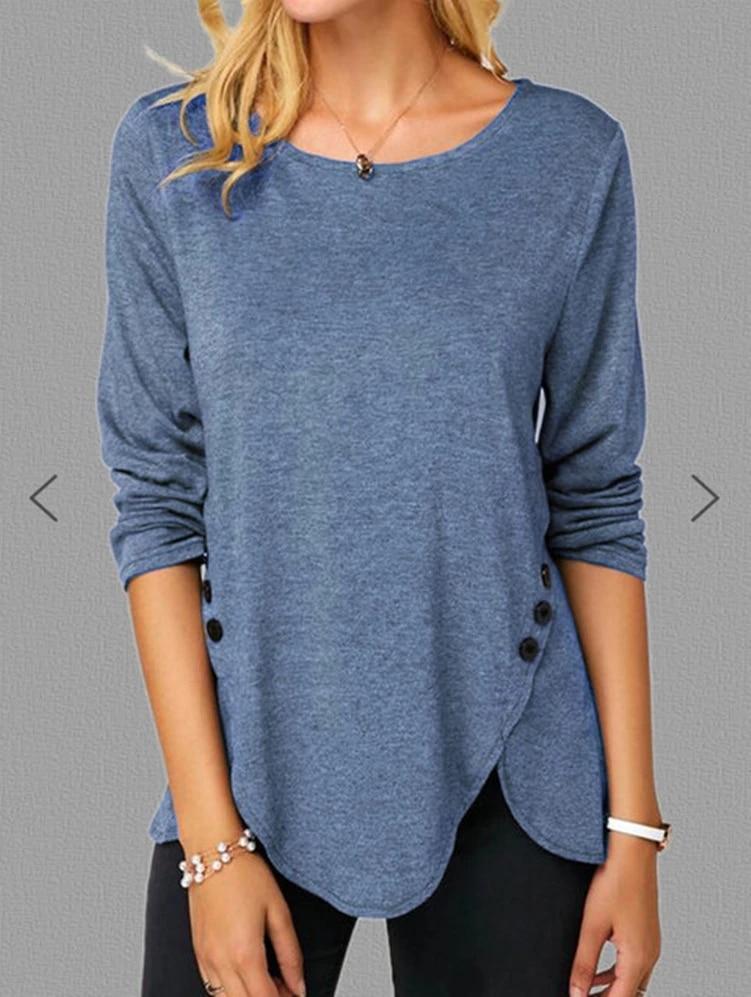 Нерегулярные Повседневная хлопковая блузка рубашка для женщин с длинными рукавами, на пуговицах, с о-образным вырезом размера плюс S-5XL женский сплошной Цвет одежда футболки
