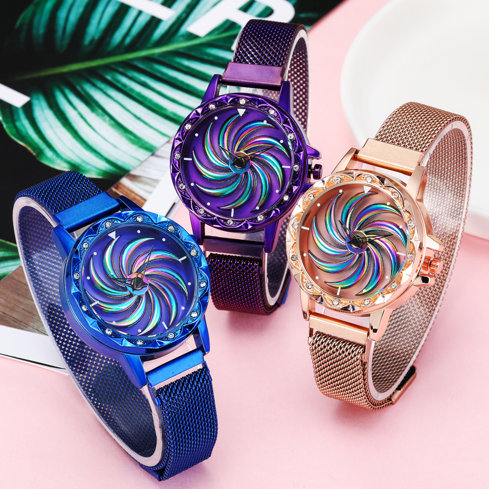360 Degree Rotation Women Mesh Magnet Buckle Windmill Watch Luxury Fashion Ladies Gold Watches Quartz Watch Relogio Feminino