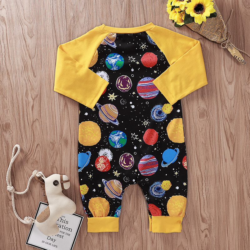 Space Sea Turtle Newborn Baby Boy Girl Romper Jumpsuit Long Sleeve Bodysuit Overalls Outfits Clothes