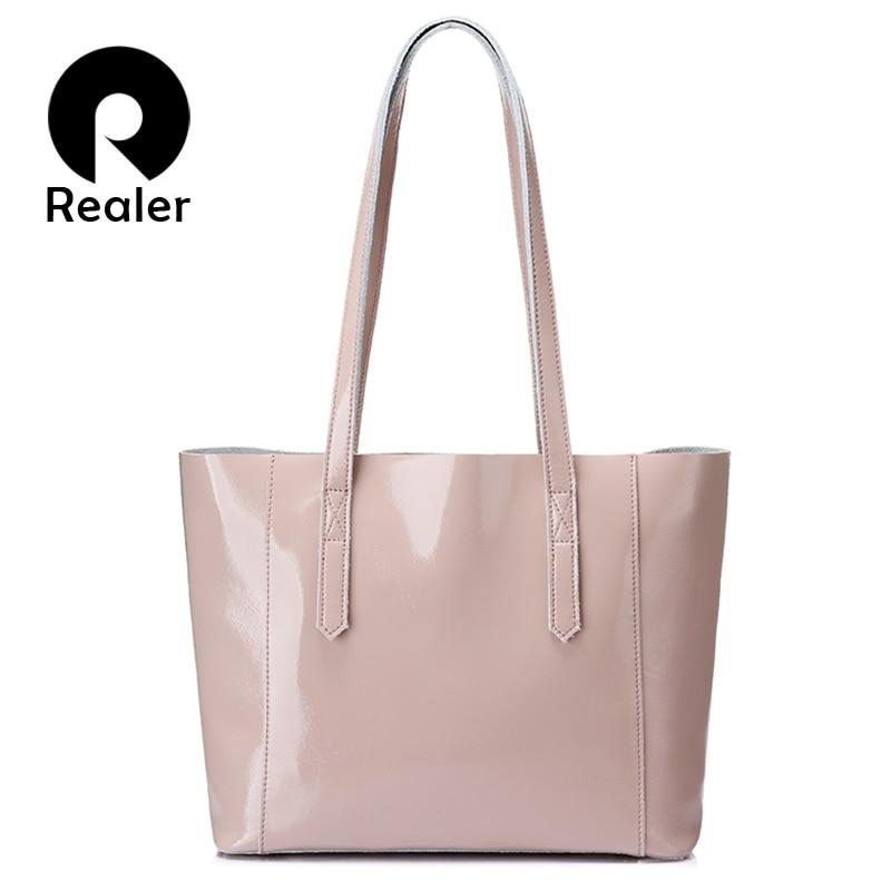REALER women large tote bag soft patent leather shoulder bag female big crossbody bags scratch resistant