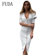FUDA Sexy V-neck Hollow Out Single Breasted Women Slim Pencil Dress Summer Fashion Casual Banquet Bodycon Ropa Mujer