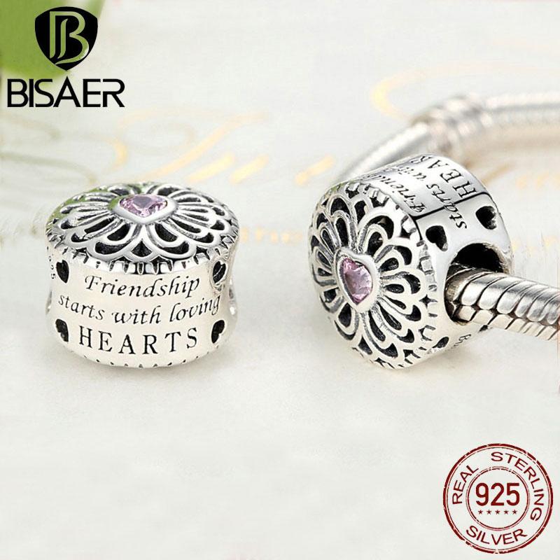 Hot Sale 925 Sterling Silver Love & Friendship, Pink CZ Beads Fit BISAER Charms Bracelets Original Silver 925 Fashion Jewelry cz beads beads fitbeads beads - AliExpress