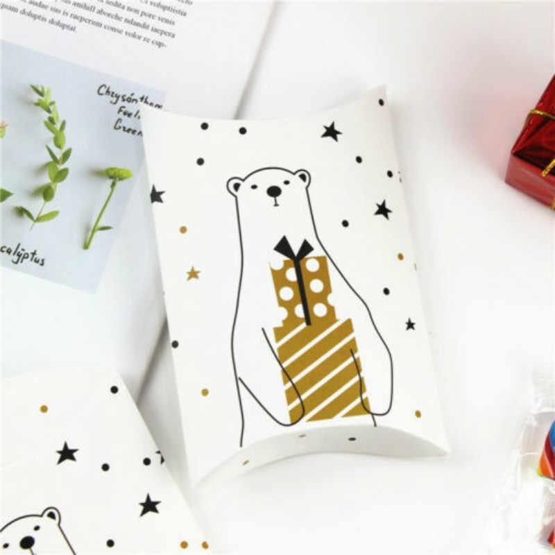 10 PC Bantal Putih Kotak Pesta Natal Kertas Souvenir Hadiah Manis Carrier Permen Sarung Bantal Natal Kemasan Hadiah Lipat Tray