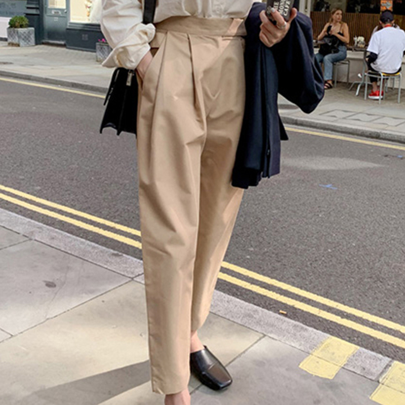 YAMDI Korean Trouser Women Casual Spring Autumn Harem Pants Casual Woman High Waist Ladies Pant Solid Apricot Capris Femme New