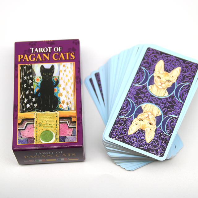 Tarot of Pagan Cats Cards 78 Full-Color Cards Mini Deck Five Languages English Spanish Tarot Divination Beginner Toy Game 4