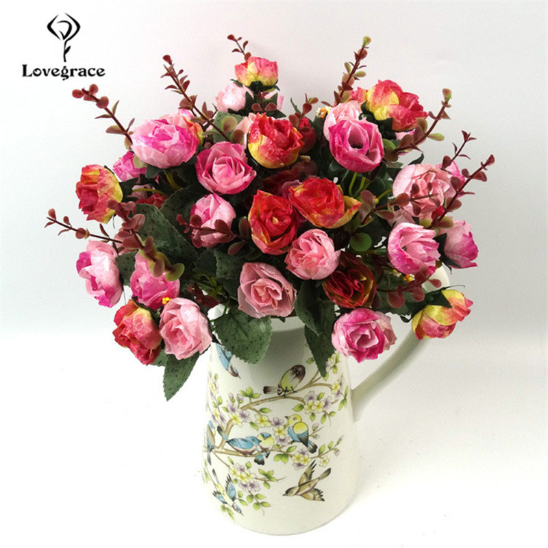 21 Heads Vivid Rose Artificial Flowers Bouquet Diamond Shining Rose Silk Fake Flowers Wedding Home Decoration Faux Flore Wedding
