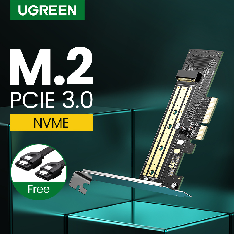 Ugreen PCIE To M2 Adapter NVMe M.2 PCI Express Adapter 32Gbps PCI-E Card X4/8/16 M&B Key SSD Computer Expansion Cards