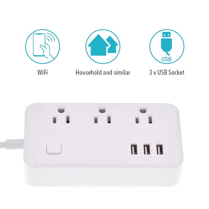 Сетевой адаптер wifi 3USB smart US plug, переключатель перегрузки, защита от перенапряжения, 3 порта, USB зарядное устройство, Google Home Alexa, 1,25 м, 10 А, Wi Fi разъем - 6