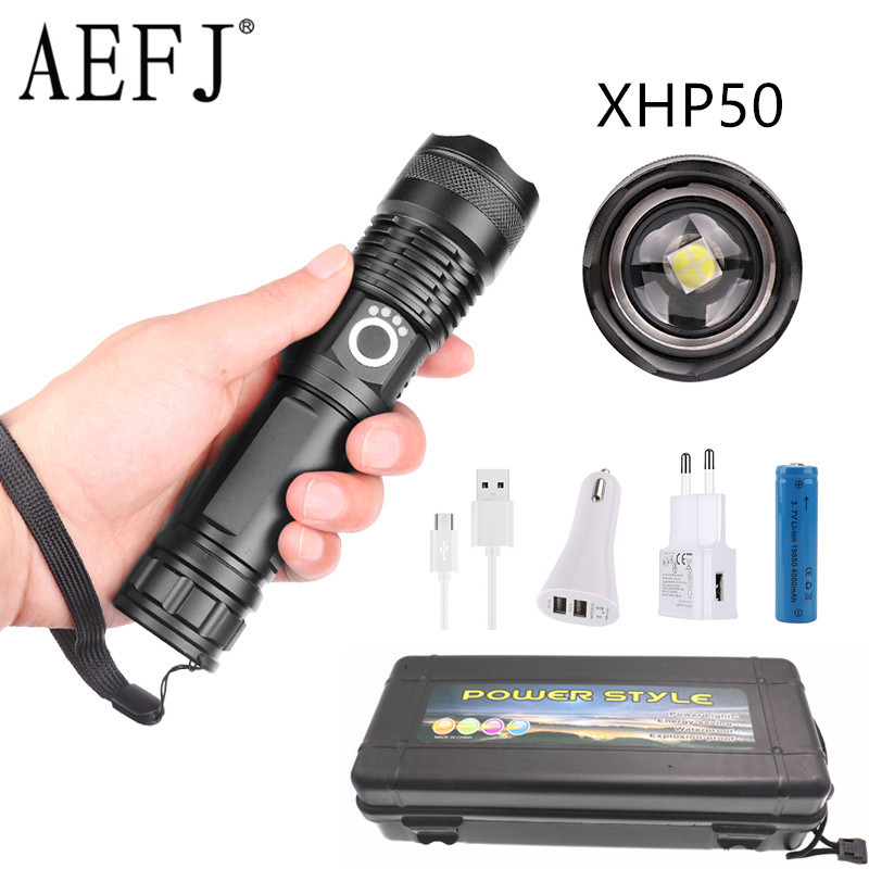 Dropshipping Powerful LED Xhp50.2 Most Flashlight 5 Modes Usb Zoom Led Torch Xhp50 18650 Or 26650 Battery Best Camping, Outdoor