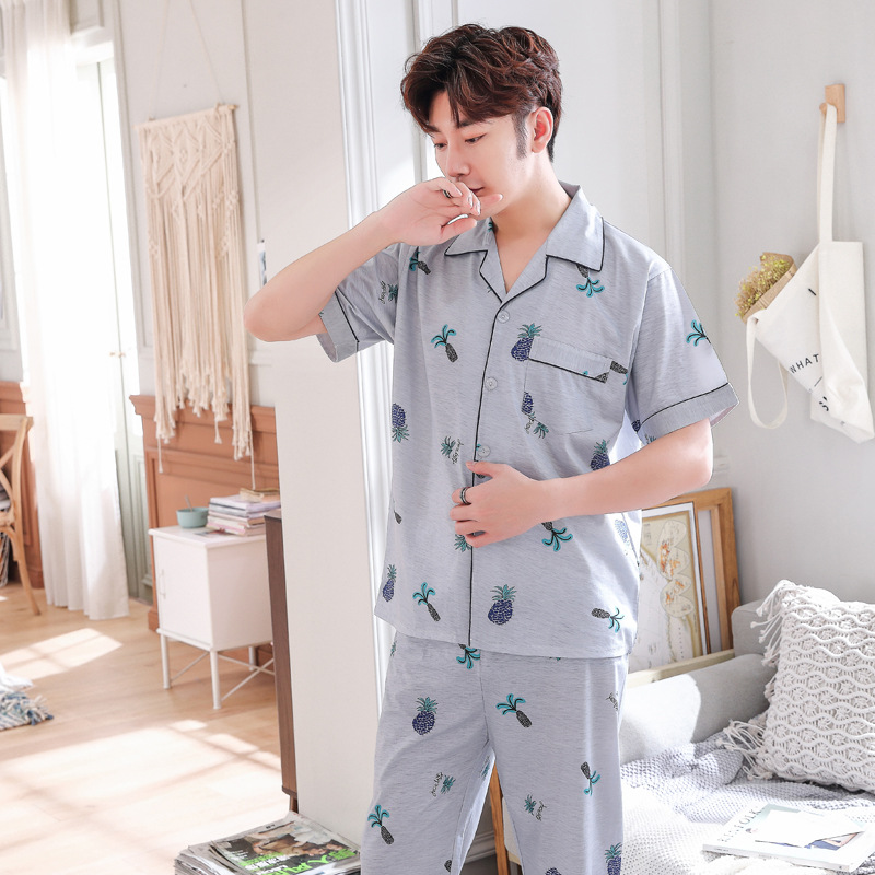 Men Pajamas Sets Summer Homewear Knitted Cotton Men's Pajamas Long Sleeved Sexy Pajamas For Men Plus Size Men's Suit