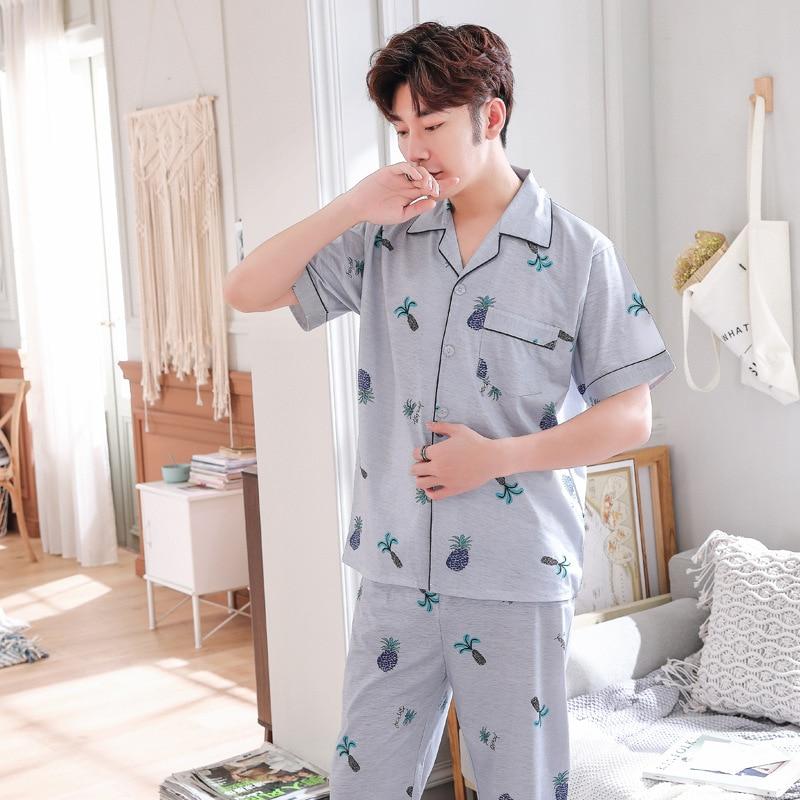 Men Pajamas Sets Summer Homewear Knitted Cotton Men's Pajamas Long Sleeved Sexy Pajamas For Men Plus Size Men's Suit
