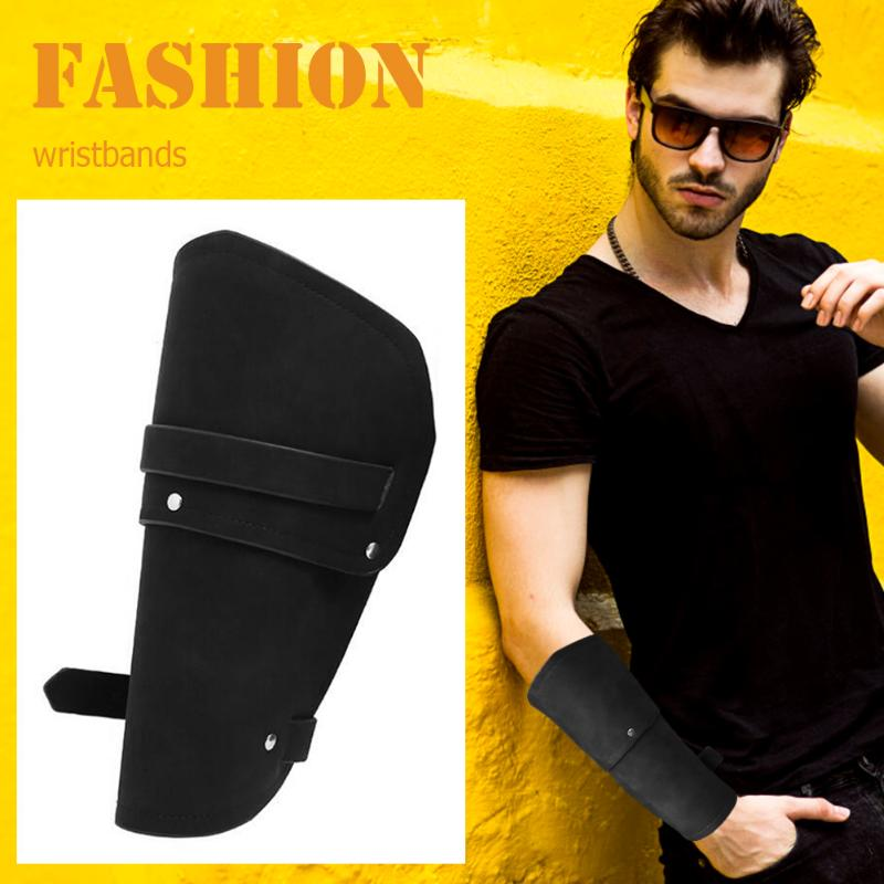 37.5cm Black/Brown Fashion Retro Wrister Durbale PU Leather Iron Arm Warmers Punk Style Wide Cuff Man Wristband Bracers