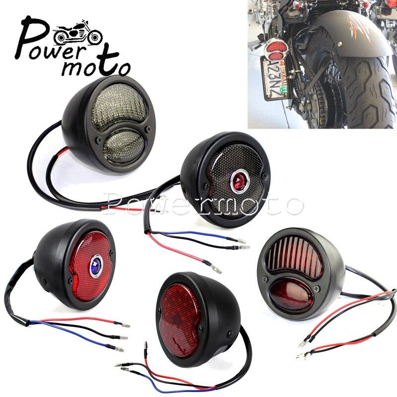 Black/Chrome/Red/Smoke Universal LED Tail Light Brake Stop Running Rear Light For Cafe Racer Chopper Bobber Scrambler Triumph