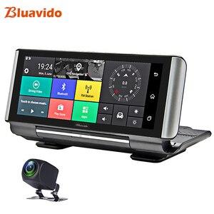 Image 1 - Bluavido 7 inç 4G araba dvrı kamera GPS FHD 1080P Android Dash kamera navigasyon ADAS araba Video kaydedici çift lens ön panel kamerası