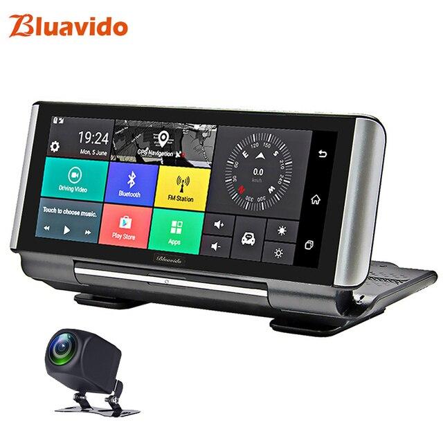 Bluavido 7 inç 4G araba dvrı kamera GPS FHD 1080P Android Dash kamera navigasyon ADAS araba Video kaydedici çift lens ön panel kamerası