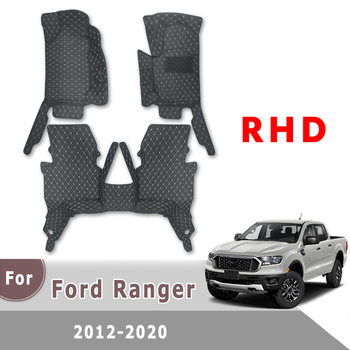 Right Hand Drive Car Floor Mats For Ford Ranger 2012 2013 2014 2015 2016 2017 2018 2019 2020 wildtrak Leather Mats Auto Interior