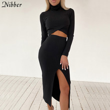 Nibber Casual Basic Women 2 Two Pieces Set Ribbed Solid Sexy Party Outfits Crop Top Skirt Suits Elegant Autumn Clubwear Female