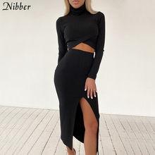 Nibber prosta, na co dzień kobiety 2 dwa kawałki zestaw prążkowana jednolita seksowna stroje imprezowe krótki Top spódnica garnitury elegancka jesień Clubwear kobieta