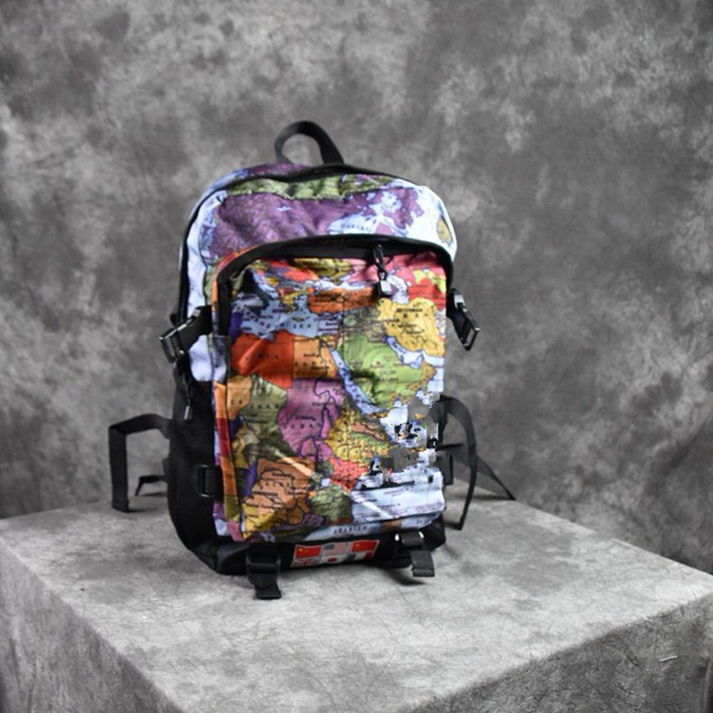 Map Backpack School Bag On For Outdoor Travel Camping Hiking Gym Sports Bag Teenagers Unisex Oxford World Map Printing Backpack