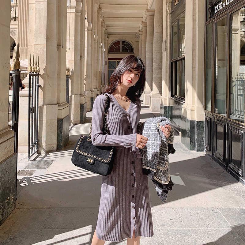 MISHOW 2019 الخريف الشتاء الصلبة سليم صالح فستان منسوج المرأة السببية Vneck حزام واحدة الصدر فستان MX19C1356