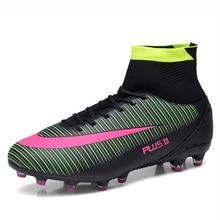 Football Shoes Boys High Top Football Boots Men Sport Futbol Sneakers Long Spikes Soccer Shoes Cleats Trainers Chuteira Futebol