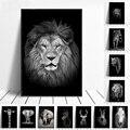 Настенный художественный постер с черно-белыми животными, принт льва, слона, зебры, картины на холсте для гостиной, картины для детской комн...