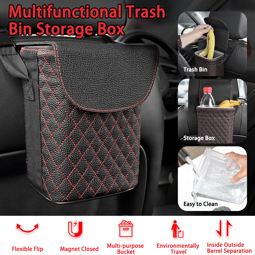 Car Accessories Car Trash Bin Multifunctional Car Storage Box Double-layer design Mini Hanging Trash Case Storage Case