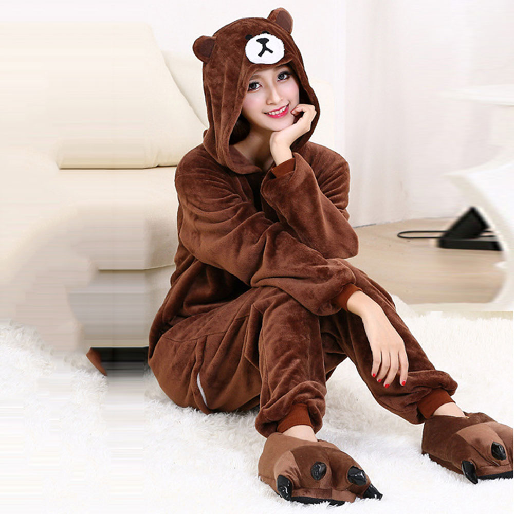 Cartoon Pajamas Kigurumi Onesies For Adults Women Witner Sleepwear Zipper Animal  Kumamoto Bear Unisex Flannel Nightie Sleepwear