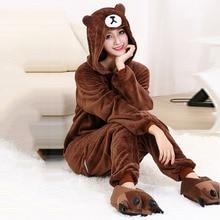 Cartoon Pajamas Kigurumis Onesies Adults Women Witner Sleepwear Zipper Animal  kumamoto Bear Unisex Flannel Nightie