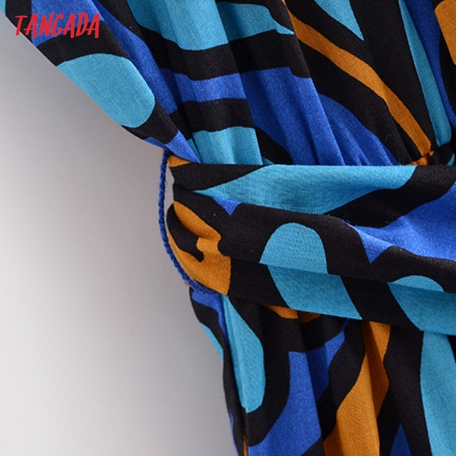 Tangada Fashion Women Leaf Print Summer Tank Dress 2021 New Arrival Sleeveless Ladies Midi Sundress With Slash  QN114 4