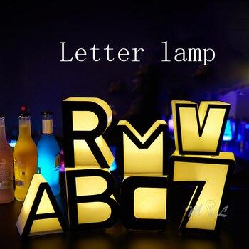 Lámpara colorida de letras, lámparas de mesa de Bar, lámpara de escritorio recargable de estilo Art Deco, lámparas de noche, lámpara de regalo de Navidad para habitaciones de niños y cafeterías
