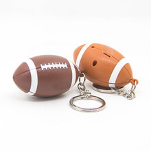 1 Rugby LED Light Key Ring Pendants Accessories With Sound Gym Sports Memorial Gifts Car Bag Key Ring Trinket(China)