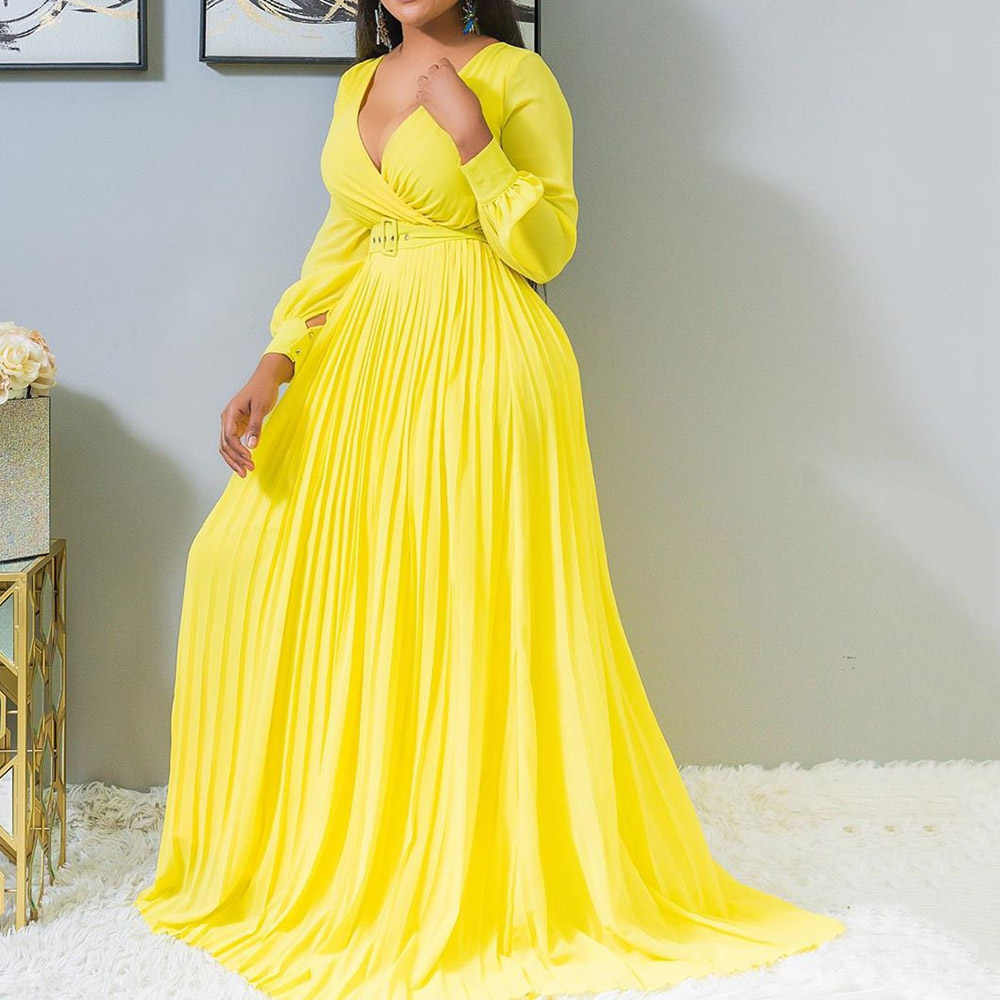 Plus Size Yellow Pleated Evening Party Dress Women Long Dresses Dinner Vintage Lantern Sleeve Maxi Formal Dress robe de soiree