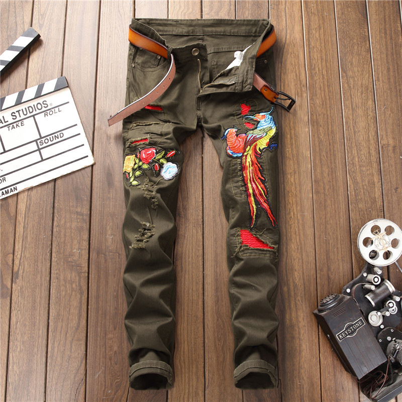 2019 New Straight Green Chinese Embroidery Jeans Men Streetwear Destroyed Ripped Punk Hip Hop Pencil Biker Patch Trousers