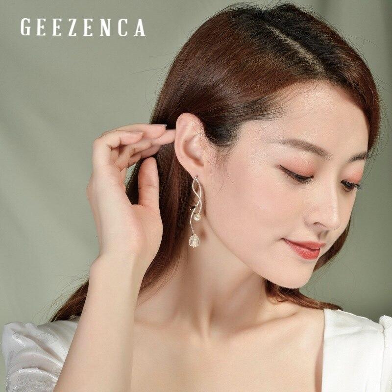925 argent Sterling cristal perle grenat fleur longues boucles d'oreilles Style chinois à la main pierres précieuses boucle d'oreille bijoux fins femmes - 6