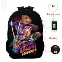 USB Horrorible Killers Backpack Horror Movie Character Printed Teenager Boys Girls School Bag Children Schoolbag Student Bookbag