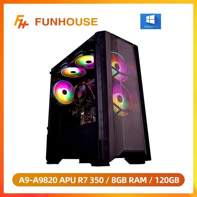 Funhouse консоль для ПК-игр с поддержкой Windows A9-A9820 8-ядерный настольных APU R7 350 GPU DDR3 8G Оперативная память 120 г SSD 2,35 ГГц по сравнению с i5-7400 высокопро...