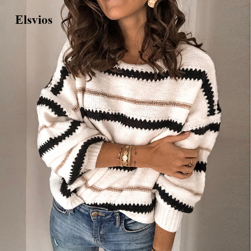 3XL Sexy O-Neck Striped Knitted Sweater Casual Women Long Sleeve Pullover Tops Autumn Winter Patchwork Pull Sweater Jumper Mujer